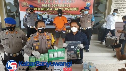 Polresta Banyuwangi Bekuk Residivis Kasus Narkoba, Barang Bukti Sabu 285 Gram